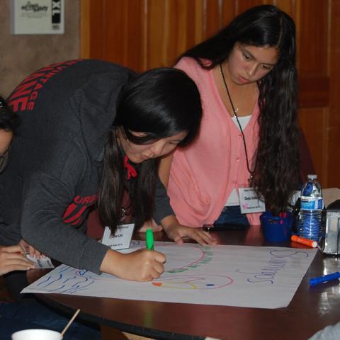 three-female-students-writing